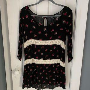 Forever 21 black floral long sleeve dress - size M